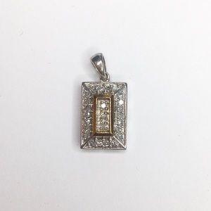 Zales Silver and Gold Diamond Accent Pendant Charm